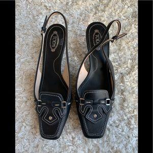 Tods kitten heel black size 8.5